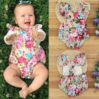 Wholesale Dress Ruffle Bloomers - 2017 INS baby girl toddler Summer clothes clothing Lace Ruffles Rose Floral Romper Onesies Jumpsuits Diaper covers Bloomers Cute TUTU Dress
