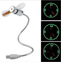 ladegeräte für porzellan großhandel-Mini-USB-LED-Ventilator-Uhr-Anzeige blinkende Zeit-USB-Uhrventilator für PC-Notizbuch-Energie-Bank-Ladegerät mit ith-Uhr USB-Gadgets