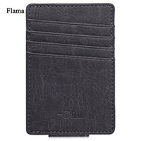 Wholesale Invisible Cards - Flama Pure Color Dull Polish Invisible Magnet Button Open Card Wallet Money Clip For Men Money Wallet Male Purse Card Holder Wallet +B