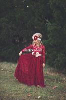 robes de fille de fleur rouge pleine longueur achat en gros de-Vin Rouge Complet Dentelle Fleur Filles Robes 2019 Avec Manches Longues Taille Avec Fleur Longueur De Plancher Pour Pays Mariage Filles D'anniversaire Fête Robe