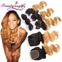 Wholesale Weave Lengths - Brazilian Body Wave Hair Weaves Lace Closures With Bundles 4pcs Lots Brazillian Ombre Hair Weaves 3 Bundles With Closure Beauty Length Hair