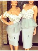 Wholesale Grey Sheath Pleated Dress - Silver Grey Lace Bridesmaid Dresses Long Sleeves Tea Length Sheath Wedding Guest Dress Short Brides Maid of Honor Dresses 2017