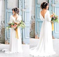 Wholesale Greek Chiffon Dress Images - Sexy V-Neck Backless Greek Wedding Dresses 2017 Robe de Mariage Bohemian Beach Bride Dress With Sleeves Country Wedding Dress