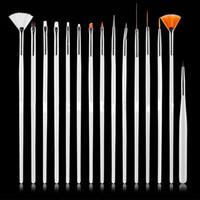 Wholesale Professional Art Paint Brushes - 15 Pcs Nail Art Decorations Brush Set Tools Professional Painting Pen for False Nail Tips UV Nail Gel Polish Diy Nails Beauty