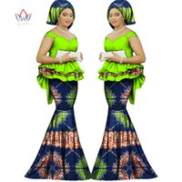 Wholesale Evening Women Sets - 2017 Spring skirt set african designed clothing traditional bazin print Bazin Riche plus size skirt set evening dress WY1312