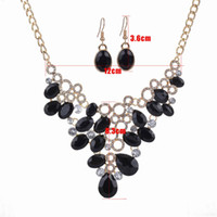 Wholesale Earrings Weding - Fashion Acrylic resin water drop Pendant Necklaces Matching Earrigs Charm Statement Jewelry Set Women Weding Jewelry set Accessories