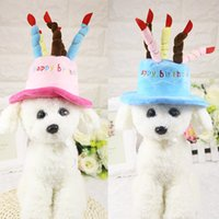 Wholesale Cake Design Supplies - Dog Puppy Birthday Party Cap Hat Fleece Dogs Pet Hats Caps With Cake Canddles Design Cute Pet Supplies Pink Blue