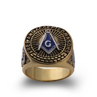 Wholesale enamel metal ring - hot selling new arrival metal vintage mens masonic jewelry antique style blue enamel gold freemason rings