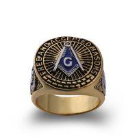 venda de anel azul venda por atacado-Venda quente nova chegada de metal do vintage dos homens jóias maçônicas estilo antigo azul esmalte ouro anéis de maçom