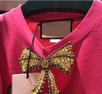 Wholesale Ladies Diamond Shirt - Retail- High Quality 2017 Hot Women New Arrival Diamonds Bow Short Sleeve Slimming mei red Luxury Fashion Ladies Cute T shirt