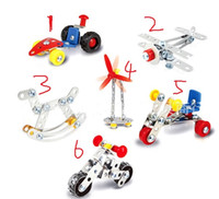 Wholesale Toy Windmill Kit - 3D Assembly Metal Engineering Vehicles Model Kits Toy Car F1 Windmill Airplane Motorcycle Rocking Chair Building Construction Play Set