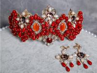 Wholesale Burgundy Crystal Earrings - Vintage Baroque Burgundy & Pink Beads Pearl Wedding Bridal Crown + Earrings Hair Accessories Tiara High Quality Crystal Jewelry Set