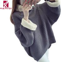 Wholesale Long Sleeve Crochet Tops - Wholesale-Loose Winter Crochet Women Sweater Knitwear Pull Long Sleeve Jumper Pullover Turtleneck Oversize Casual Ladies Tops MF108