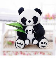 "Wholesale Christmas Stuffed Panda Bear - 16"" Mum Panda Bear Hold Baby Panda Stuffed Animal Plush Toy Dolls Endangered Species Toy Cute"