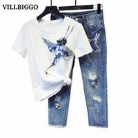 Großhandel-Frauen Vogel Appliques Perlen T-Shirt Riss Denim Jean Pants Anzug Set HIGH QUALITY Neueste 2017 Designer Runway Suit Set