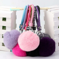 Wholesale Ceramic Steel Chain - New arrival Rex Rabbit Hairball Key Chain Knitting Rope Hairball Creative Bag Strap KR250 Keychains mix order 20 pieces a lot