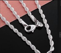 Wholesale 26 Inch Necklace Chain - wholesale price 26-28-30 inch 3mm , 2mm twisted chains necklaces 925 sterling sivler jewelry fine silver necklaces for pendants G205
