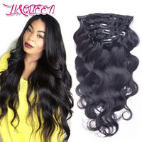 Wholesale Body Clips - Peruvian Human Hair Clip In Hair Extensions Natural Black Beauty Body Wave Unprocessed 12-28 Inches Hair