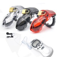 Wholesale Cocks Locked Cages - New Electro Shock Male Chastity Device Cock Cages Men Lock With adjustableRing Cock Chastity Belt Cuff Ring Free Shipping