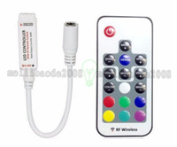 Wholesale Led Module 12 - DC 12-24v led strip and module use 17 key mini rf wireless led rgb remote controller with 4pin female FREE SHIPPING MYY
