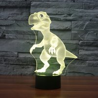 Kids Gift 3D Dinosaur Lampe Led 3D Touch Switch Illusion Optique Table de bureau Lampe de chevet avec 7 couleurs Changer Noël Festival Night