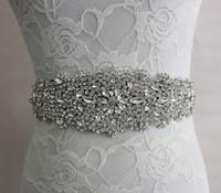 2019 Real Image Wedding Dresses Sash Bridal Belts Rhinestone Crystal Ribbon Tie Back Bridal Accessories Princess Handmade Fashion