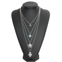 Wholesale Multi Level Necklace - Simple multi-level Turquoise Tassel Necklace Bohemia diamond necklace wafer arrow of love