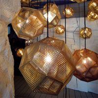 Wholesale Tom Dixon Etch Pendant - Tom Dixon Pendent Lamp Pendent Light Etch Shade Pendant Lamp Modern Brass Pendant Lights Gold Silver Ball Lamp 25cm 32cm 48cm Pendent Light