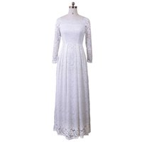 Wholesale Long Sleeve Casual White Dresses - White Lace Off Shoulder Dresses Embroidery Sexy Women 2017 Long Sleeve Casual Evening Party Formal Maxi Dress Plus Size