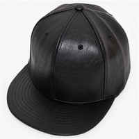 Wholesale blank hats online - Adjustable DIY Blank PU Hats pure color plate  PU hip hop 98c4a1f3e9e4