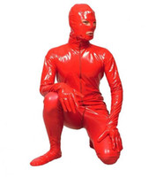 Wholesale Pvc Catsuit Xxl - Cosplay Halloween Costumes PVC leather full bodysuit Open eyes mouth Men's Tights Cosplay
