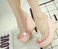 Wholesale Transparent Diamond High Heels - Wholesale New Arrival Hot Sale Specials Super Influx Stars Knight Noble Glass Flowers Transparent Sequins Diamond Wedges Slippers EU34-39
