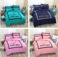 Wholesale lace quilt cover - PINK Duvet Cover Set 4 Pure Solid Color Letter Embroidery Lace Quilt Cover Bed Sheet PillowCase Quilt Cover Sets Thicken For Autum Winter