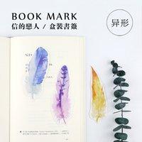 Wholesale Cute Bookmark Diy - Wholesale-30PCs Box Colorful Feather Paper Bookmark Message Card DIY Postcard Book Marks Cute Stationery Office and School Supplies