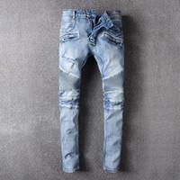 Wholesale Cool Pants For Men - robin jeans Cool Mens Hip Hop Jeans Skinny Pencil Men Kanye West Denim Pants Destroyed Distressed Ripped Jeans With Holes For Men