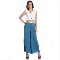 Wholesale cotton trouser fabric - Women Fashion Wide Leg Pants Loose Solid Elastic Waist Full Length Pants Casual Pant Straight Loose Cotton Fabrics Trousers