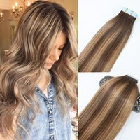 Wholesale Hair Dye Sets - Skin Weft Tape In Human Hair Extensions PU Tape Hair 40pcs set 14 - 24 inches Balayage Ombre Hair Color Highlight Hairstyle