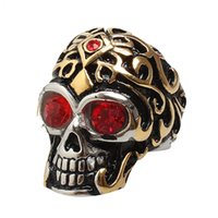 Wholesale Ruby Skull Ring - Brand Designer Hip Hop Vintage Rhodium Plated Stainless Steel Rings Mens Ruby Ring Skull Wukong Men Jewelry HIgh Quality Cool Large Ring