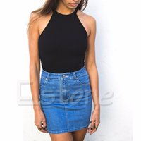 Wholesale Sexy Women Strapless Vest - Wholesale- 2017 Summer Style Women Tops Halter Neck Strapless Sexy Backless Lace Stitching Black Casual Tank Tops Vest Free Shipping