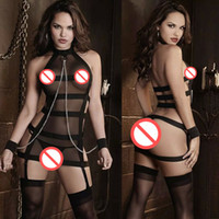 Wholesale Sexy Handcuff Games - Lenceria Sexy Costumes Bandage Lingerie fishnet Erotics Fetish Black Dress Catsuits Women Game Play Costume with Handcuff