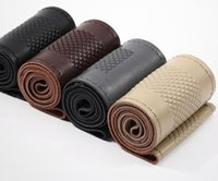 Wholesale Genuine Caps Wholesale - All Size 36-40cm Car Styling Genuine Leather Auto Car Steering Wheel Cover Cap Anti-slip Car Decoration With Needles and Thread