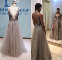 Wholesale Crystal Neckline Applique - Real Image Thigh Split Evening Dresses Plunging Neckline Appliques Backless Prom Gowns Floor Length Tulle Evening Party Dress