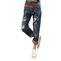 Wholesale Slacks Female - Wholesale- Hole Ripped Women Harem Denim Pants 2017 Spring Summer Jeans Female Vintage Ankle-Length Big Size Loose Slacks Lady Baggy Pants
