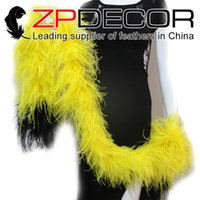 Wholesale Black Ostrich Boa - NEW Arrival! ZPDECOR 2yards lot 8PLY High Quality Beautiful Yellow and Black Bleached Wedding Dress Ostrich Feathers Boa for Dress Decration