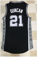 Wholesale Au Basketball - #21 Tim Duncan Men's basketball Jersey Duncan AU embroidery men sports Retired commemorative basketball jerseys Size S-XXL mixed orders