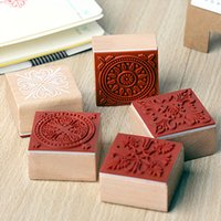Wholesale Retro Lace Series Square Design Wood Stamps X4CM Mini Rubber Stamps Gift Wedding Party Home Decoration Patterns