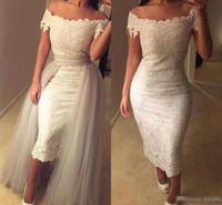 Wholesale Detachable Shirt Lace Wedding Dress - 2017 Summer Ankle Length Boho Beach Sheath Wedding Dresses Off Shoulder Full Lace Detachable Train Arabic Bridal Party Gowns Custom Made