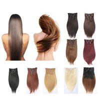 Wholesale Cheap Blonde Hair Extensions Dark - Resika Clip In Hair Extensions Brazilian Human Hair 20 22 24inch #613 Blonde Straight Hair Extensions 70g-220g 7pcs Set Cosplay Cheap Price