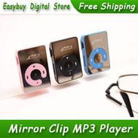 kart okuyucu mp3 toptan satış-Toptan-20 adet / grup Yeni Stil Yüksek Kalite Mini Ayna Klip Kart Okuyucu MP3 Müzik Çalarlar Destek Micro SD / TF Kart 6 Renkler