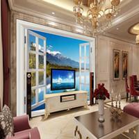 Wholesale Wooden Bedroom Classic - Free Shipping Living Room 3D Windows Window Landscape Sea Wooden Bridge TV Backdrop Wallpaper Custom Mural Bedroom Wallpaper